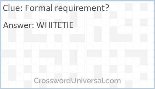 Formal requirement? Answer