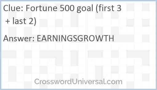 Fortune 500 goal (first 3 + last 2) Answer