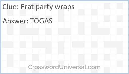 Frat party wraps Answer