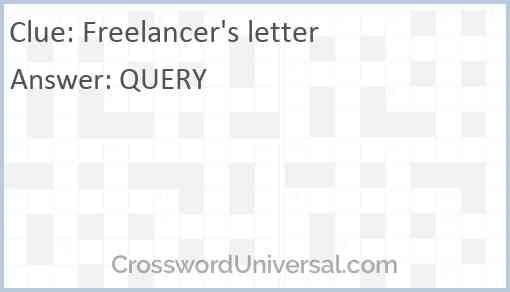 Freelancer's letter Answer