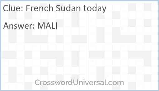 French Sudan today Answer