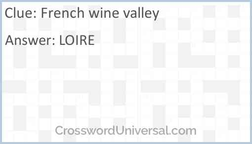 French wine valley Answer