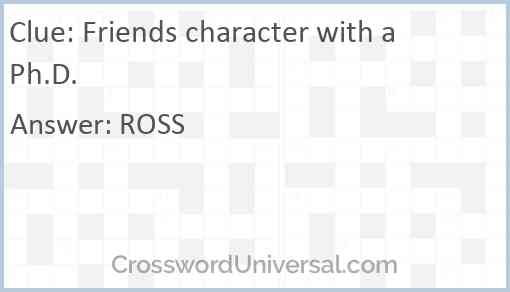 Friends character with a Ph.D. Answer