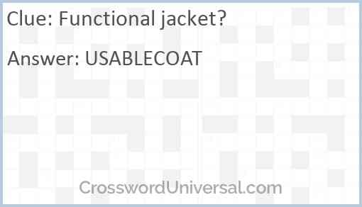 Functional jacket? Answer