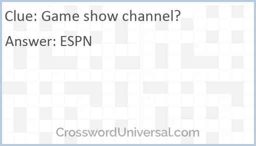 Game show channel? Answer