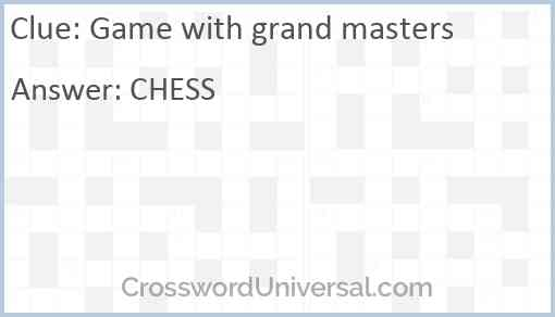 Game with grand masters Answer
