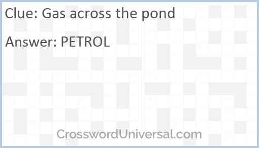 Gas across the pond Answer