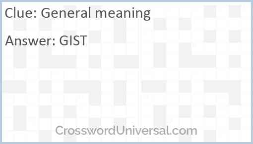 General meaning Answer