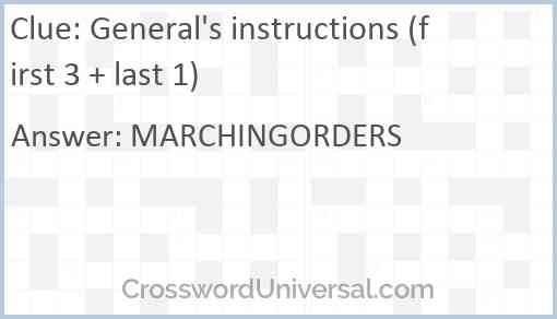 General's instructions (first 3 + last 1) Answer