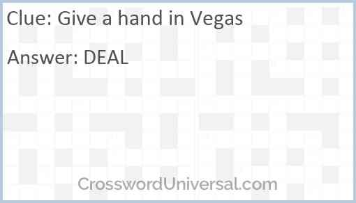 Give a hand in Vegas Answer