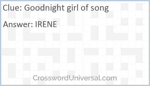 Goodnight girl of song Answer