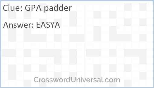 GPA padder Answer
