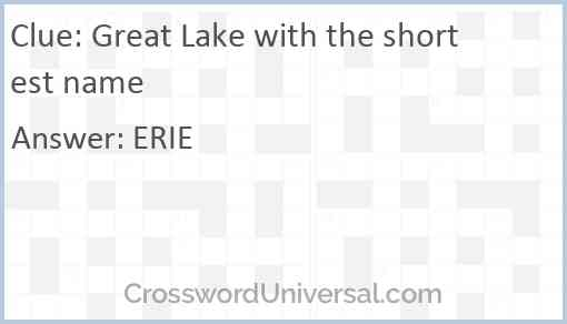 Great Lake with the shortest name Answer