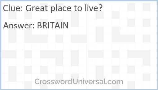 Great place to live? Answer