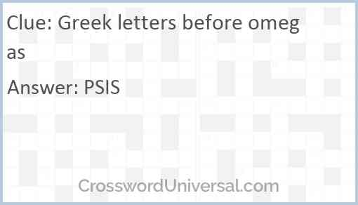 Greek letters before omegas Answer