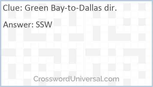 Green Bay-to-Dallas dir. Answer