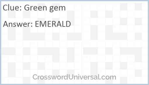 Green gem Answer