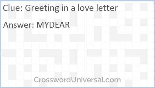 Greeting in a love letter Answer