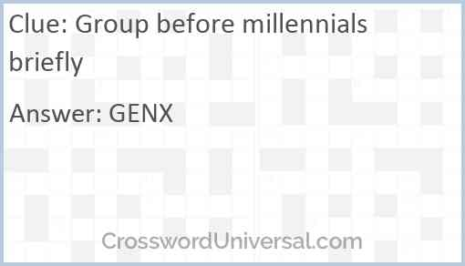Group before millennials briefly Answer