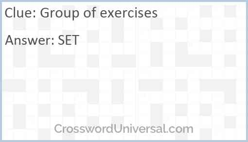 Group of exercises Answer