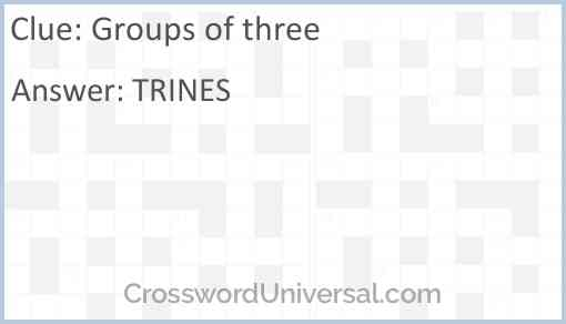 Groups of three Answer
