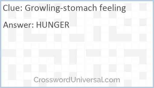Growling-stomach feeling Answer