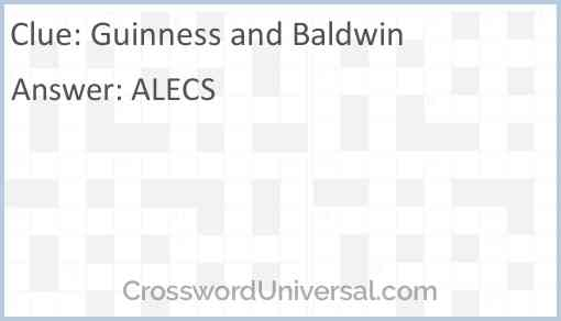 Guinness and Baldwin Answer