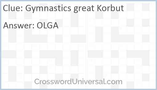 Gymnastics great Korbut Answer