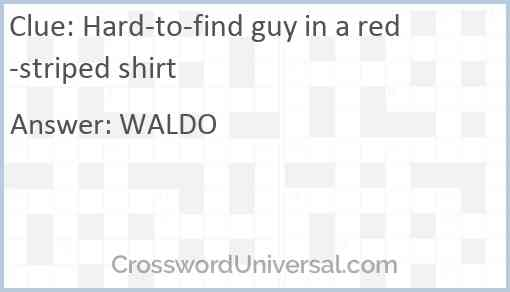 Hard-to-find guy in a red-striped shirt Answer