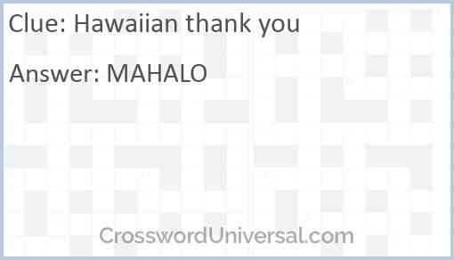 Hawaiian thank you Answer