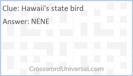 Hawaii's state bird Answer