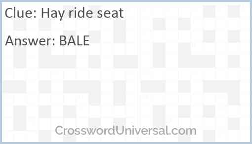 Hay ride seat Answer