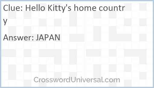 Hello Kitty's home country Answer