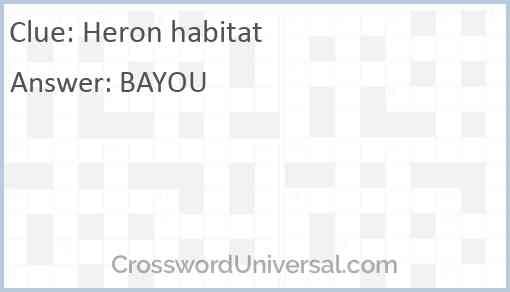 Heron habitat Answer