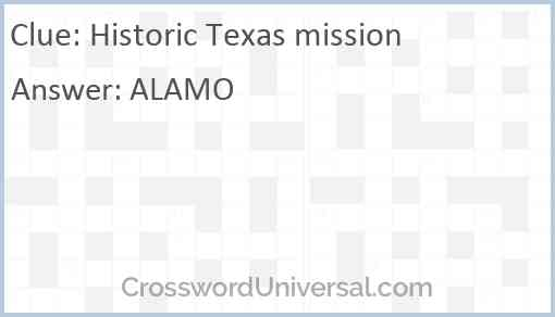 Historic Texas mission Answer