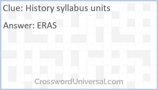 History syllabus units Answer