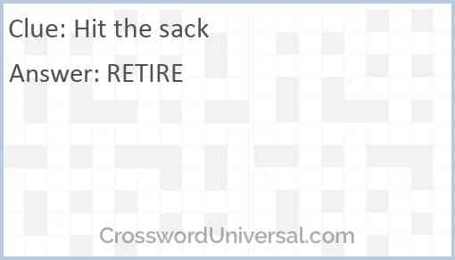 Hit the sack Answer