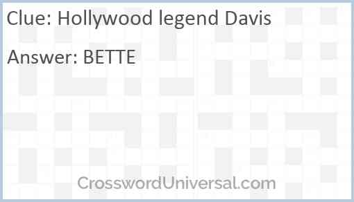 Hollywood legend Davis Answer