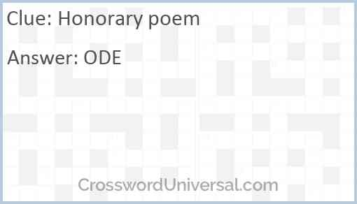 Honorary poem Answer