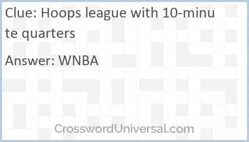 Hoops league with 10-minute quarters Answer
