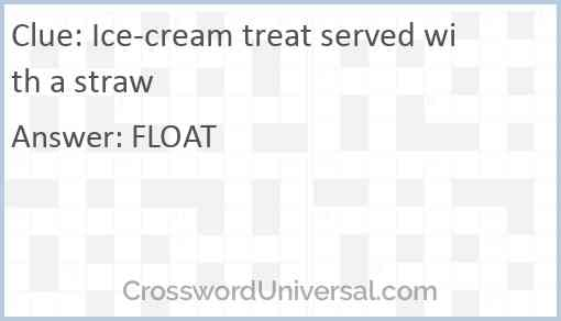 Ice-cream treat served with a straw Answer