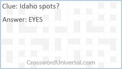 Idaho spots? Answer