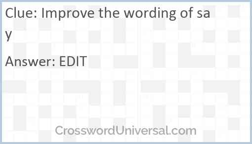 Improve the wording of say Answer