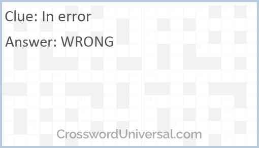 In error Answer