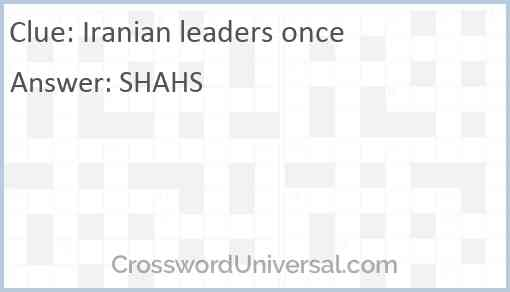 Iranian leaders once Answer