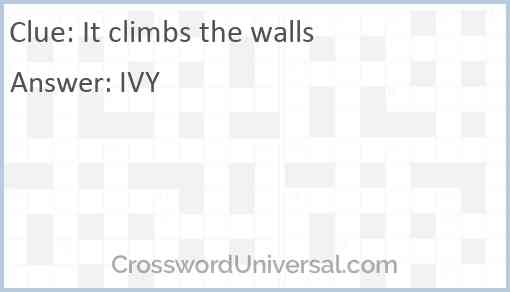 It climbs the walls Answer