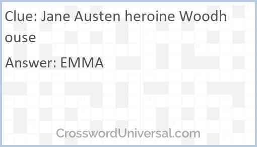 Jane Austen heroine Woodhouse Answer