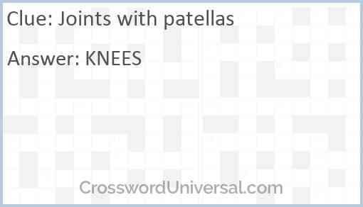 Joints with patellas Answer