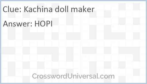 Kachina doll maker Answer