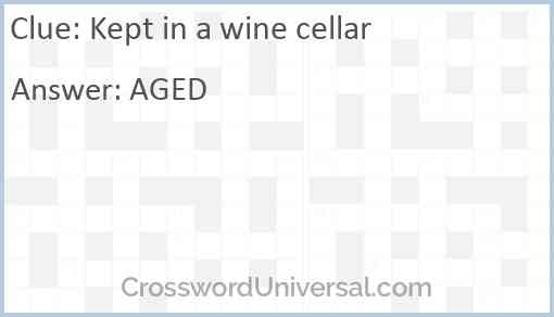 Kept in a wine cellar Answer